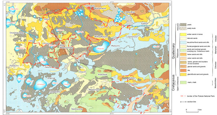 Fig 7. Geological map of Polesie National Park [5]